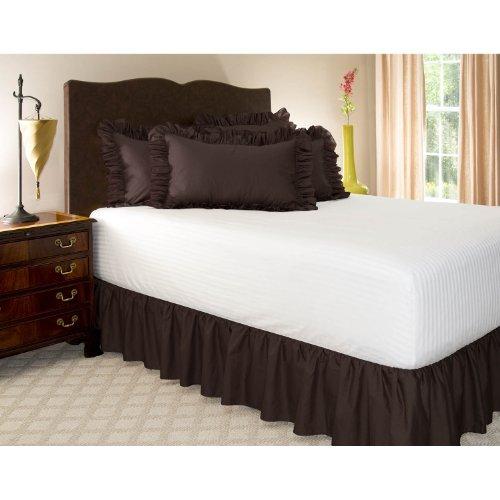 Shop Bedding Zerzauster Bed Rock (Queen, Brown) 18-Zoll-Bett-Rock mit Plattform, Falten und Fade Resistant - von Harmony Lane (erhältlich in Allen Gästen Größen und 16 Farben) (Weiße Queen-bett-plattform)