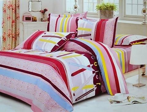 Todd Linen Brand New Multicolored Stylish Designed Super Soft 3 Pcs Queen Set 1 Duvet Quilt Cover + 2 Pillow Case Perfect Bedding Set (Pencil Multi Color