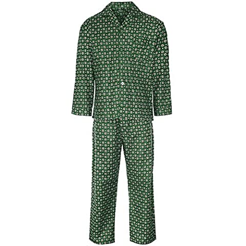 MENS CHAMPION WINCEYETTE CHECK SOFT BRUSHED COTTON WARMTH COMFORT PYJAMA SETS[Green Diamond,Large]
