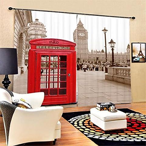 KKLL 3D Telefonzelle Dreidimensionaler visueller Raum Print Polyester Stoffe Blackout Drape Solid Thermische Vorhänge Home Decor Wohnzimmer Schlafzimmer Fenster Vorhänge , wide 2.03x high 2.13