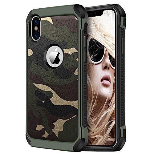 Camuflaje Funda iPhone X/XR Teléfono Caso [Ultra Hybrid] Slim Suave Silicona TPU+ PC Duro Cover Shockproof+ PU Leather Cuero Apple 10/X Protección Carcasa (Negro, iPhone XR 6.1')