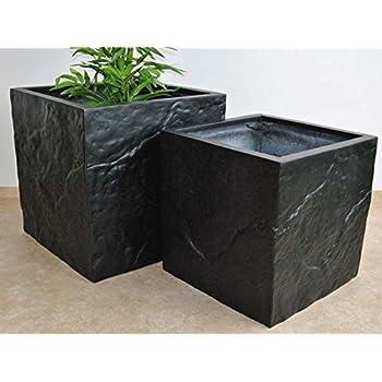 Pflanzkübel Blumenkübel Fiberglas Stein-Optik Quadrat L/B/H 60x60x60cm schwarz-matt