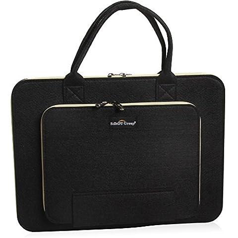 Sidiou Group Fashion sac d'ordinateur portable Tablet PC package Laptop Sleeve Case Sac étanche en tissu (17 pouces, noir)