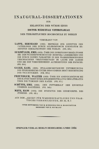 Beitrage Zur Kenntnis Der Pathologie Der Durch Sclerostomum Edentatum Erzeugten Erkrankungen Der Fohlen por Bernhard Lappe