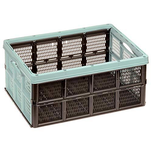 AUFBEWAHRUNGSBOX ORGANIZER von 4smile ǀ Kunststoffbox Autobox faltbar und platzsparend ǀ Inhalt 32 l ǀ stabile und geräumige Klappbox ǀ Farbe: Pastell Mint (Pastell-aufbewahrungsbox)