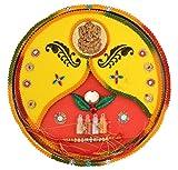 Celebrations Metal Rakhi with Puja Articles (10 cm x 8 cm x 2 cm)