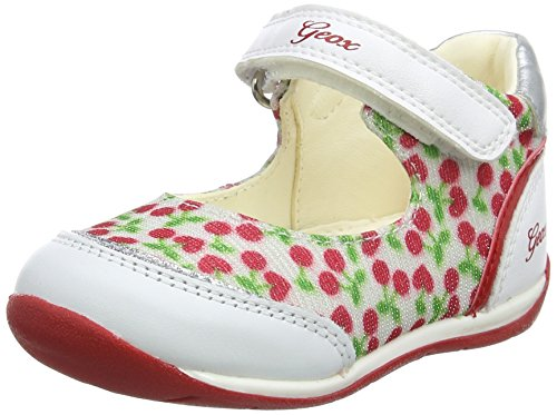Geox b each b, ballerine bimba, bianco (white/red), 22 eu