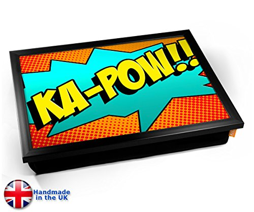 Comic KA-POW Cushion TV Dinner Lap Tray Kissen Tablett Knietablett Kissentablett - Schwarzer Rahmen