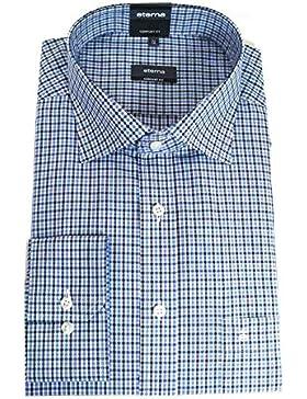 Eterna Herrenhemd Langarm Baumwoll Hemd Baumwollhemd Herren Business Hemden Modern Fit Blau Kariert Gr. M/40