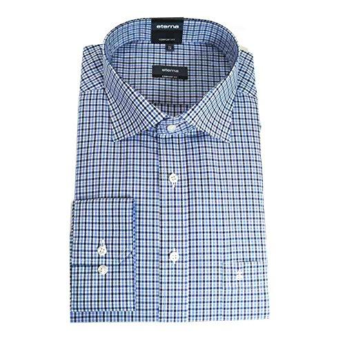 Eterna Herrenhemd Langarm Baumwoll Hemd Baumwollhemd Herren Business Hemden Comfort Fit Blau Kariert Gr. L/41