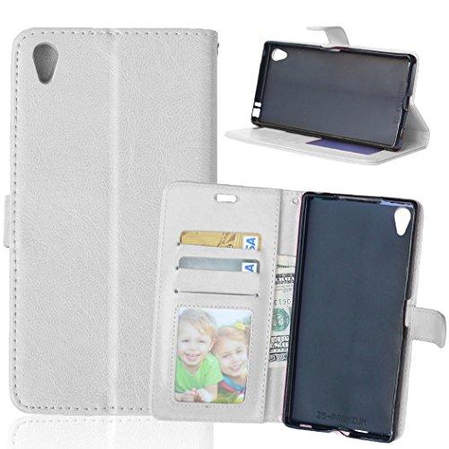 Flip Jordan Farbe (Nancen Compatible with Handyhülle Sony Xperia Z5 Premium / Z5 Plus Lederhülle Style Acht Farbe Weich PU Flip Case Ledertasche/Schutz Etui, Karten Slot Foto Wallet Hülle)
