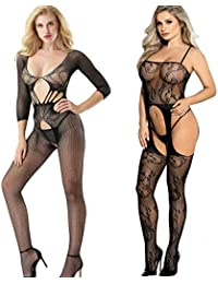 30cb3eaa775 LOVELYBOBO 2 Pack Womens Sexy Fishnet Floral Crotchless Bodysuits Suspender  Plus Size Bodystocking Teddy Nightie Black