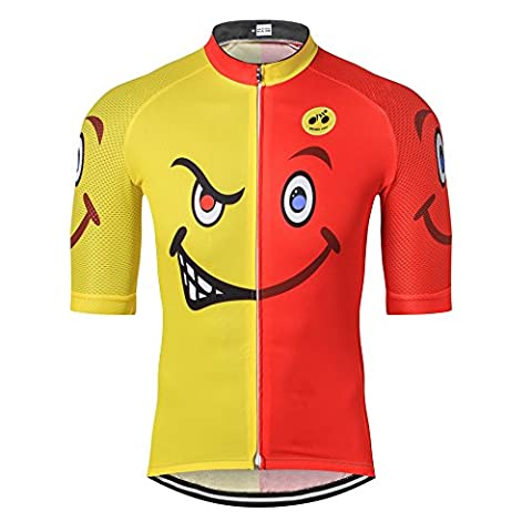 Mens Cycling Jersey 2017 Pro Team Weimostar Best Men MTB Road Cycle Short Sleeve Lengthened 4cm to Half Sleeve Clothes Bike Shirts Bicycle Racing Clothing Red Yellow 3D Pattern, Quick Dry, M L XL XXL