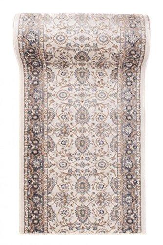 Tappeto passatoia per corridoio classico orientale - disegno persiano - al metro collezione runner ayla di carpeto - bianco crema - 80 x 400 cm