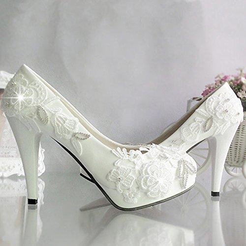 JINGXINSTORE Fiore bianco scarpe matrimonio con acqua alta Pizzo Cristallo Nuziale matrimonio damigella scarpe scarpe Bianco