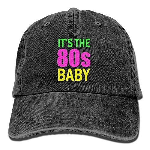 Zhgrong Caps Baby It's The 80s Vintage Washed Dyed Cotton Twill Low Profile Adjustable Baseball Cap Black Army Cap