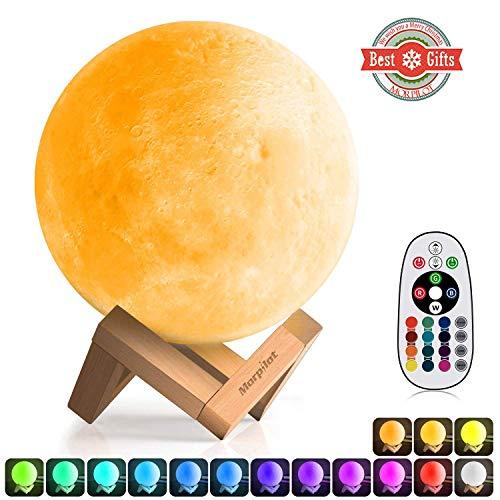 Lampada Luna 3D |15 cm 16 Colori e 4 Modalità, Morpilot Regolabile Telecomando e Toccare il Controllo, Ricarica USB, Luce Notturna Bambini, Idea Regalo, adatta ad appassionata di Astronomia