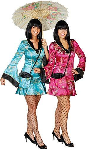 narrenkiste O9472-38-A pink Damen China Girl Chinesin Chinesen Kostüm Kleid kurz Gr.38