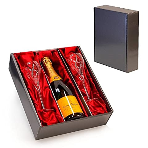 Veuve Clicquot Champagne with 2 Branded Flutes in a Luxury Silver Presentation Box - Ideas for Birthday, Wedding, Anniversary and