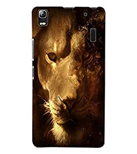 ColourCraft Lion Look Design Back Case Cover for LENOVO A7000 TURBO