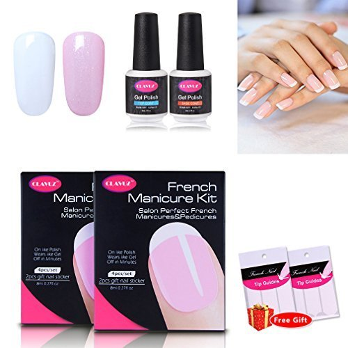 Clavuz 4pcs Kit de Manicura Francesa Esmaltes de Uñas Gel UV LED Semipermanente con Pegatinas Top Coat Base Coat Soak off Manicura y Pedicura