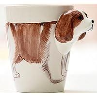 Newcom 3d tazze in ceramica dipinta a mano, tra cui un cucchiaio in acciaio inox. Beagle