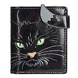 Shagwear - Monederos para mujeres jóvenes: Varios colores y diseños: (cara de gato ojos verdes negro / cat eyes black)