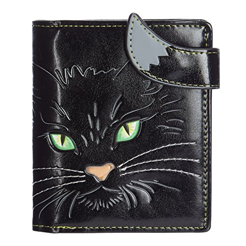 Shagwear portafoglio per giovani donne Small Purse : Diversi colori e design: musino di gatto occhi verdi nero/ Cat's Face Green Eyes