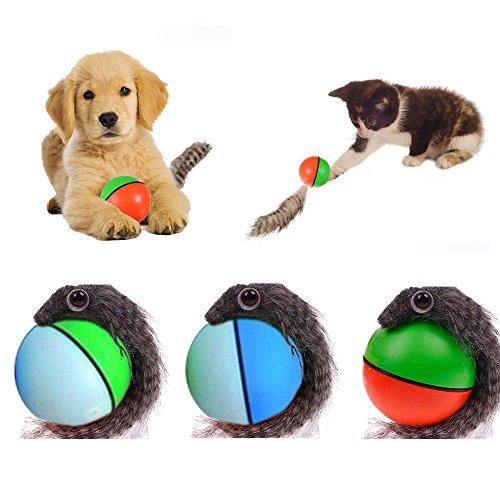 Yunt Heimtierspielzeug für Hunde und Katzen, Ball mit Wiesel-Anhang, rollt, springt, zum Nachjagen, zufällige Farbwahl