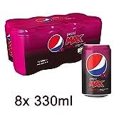 Pepsi Max Cherry 8 x 330ml - Kolahaltiges Erfrischungsgetränk mit Kirsch-Flavour