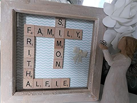 Any Names / Words Personalised Family Scrabble frame, Handmade Custom Birthday Wedding Anniversary Gift Wood