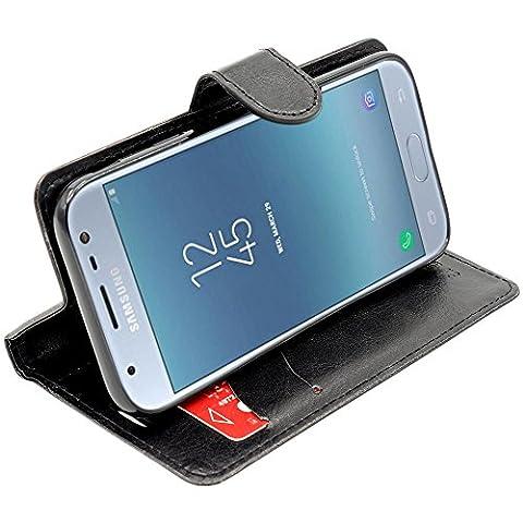 ebestStar - pour Samsung Galaxy J3 2017 SM-J330F - Housse Coque Etui Portefeuille Support PU Cuir, Couleur Noir [Dimensions PRECISES de votre appareil : 143.2 x 70.3 x 7.9 mm, écran 5