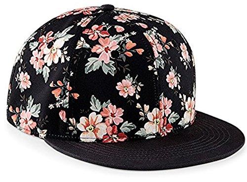 Snapback Damen Frauen Floral Blumen Snapback Cap Mütze Hut pink rosa schwarz Blumenmuster Assemblage Trend Fashion