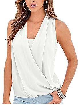 Mujer De Gasa Empalme Escote V Casual Elástico Sin Mangas Blusas Camisas De Sin Hombros Verano Suelto Blanco M