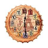 Crown Bottle Cap Retro Wanduhr Adornment Bracket Clock Silent-Wand-Dekor C
