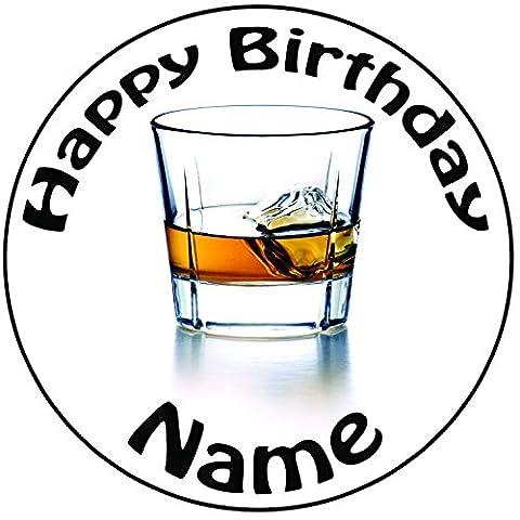 Personnalisé Verres de Whisky/rhum gâteau–Un Rond prédécoupés 20,3cm Décoration Glaçage (20cm)