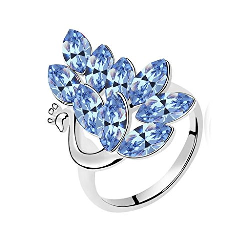 Gnzoe Femme Acier Inoxydable Paon Cristal Bleu Bagues de Fiançailles Taille 54