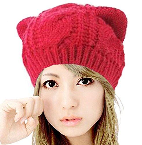 Kfnire Gorros, Sombrero de oído de Gato - Las Mujeres de cáñamo Caliente Orejas Flores de cáñamo Sombrero de Punto (Rojo)