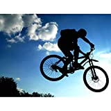 SPORT MOUNTAIN BIKE SILHOUETTE JUMP BICYCLE 18X24'' PLAKAT POSTER ART PRINT LV11179