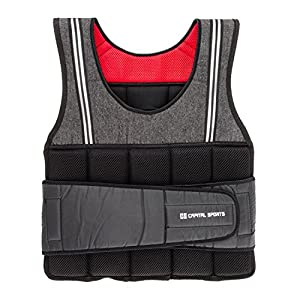 Capital Sports Vestpro 10/20 – Gewichtsweste, Fitness-Weste, Weightvest, 10 oder 20 kg, 23 herausnehmbare Gewichte, Nylongurte mit Klettverschlüssen, individuelle Körperanpassung, schwarz