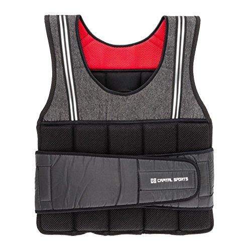 Capital Sports Vestpro 10 • Gewichtsweste • Fitness-Weste • Weightvest • 10 kg • 23 herausnehmbare Gewichte • Nylongurte mit Klettverschlüssen • individuelle Körperanpassung • schwarz