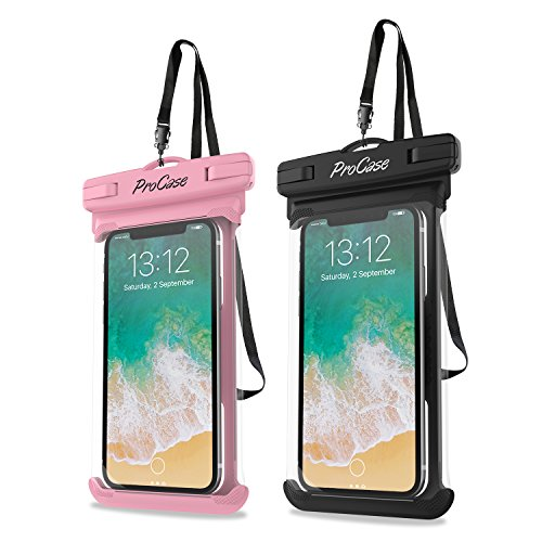 """Universal Wasserdichte Hülle, ProCase Hülle für IPhone X, 8/7/7 Plus/6S/6/6S Plus, Samsung Galaxy S9/S9 Plus/S8/S8 Plus/Note 9 8 6 5, Google Pixel 2 HTC LG Sony MOTO bis zu 6.5"""" - 2 Pack, Rosa/Schwarz"""