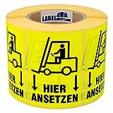 Versandaufkleber - Gabelstapler - Gabelstapler hier ansetzen - 74 x 105 mm - 1000 Stück auf Rolle, leuchtgelb, Papier, permanent haftend
