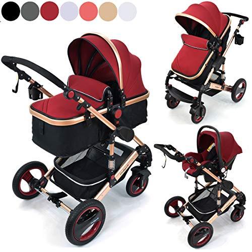 Daliya Bambimo 3in1 Kinderwagen - Kombikinderwagen Großes-Set 11-Teilig incl. Babywanne & Buggy & Auto-Babyschale - Alu-Rahmen/Voll-Gummireifen/Sonnenschutz/Getränkehalter in Bordeaux-Rot