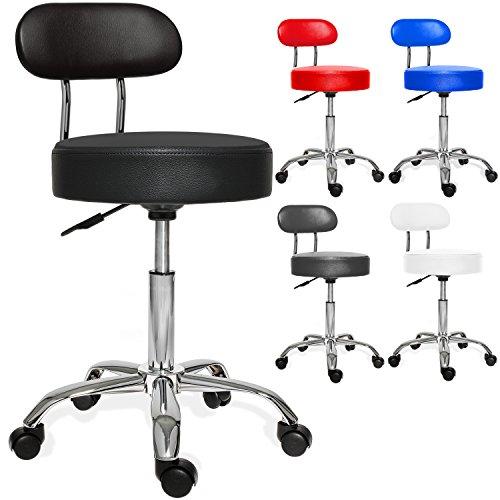 Kesser® PROFI Rollhocker, höhenverstellbar und drehbar - Arbeitshocker, Drehhocker, Praxishocker für Ärzte, Friseure, Tätowierer, Masseure, Therapeuten Polsterung Schwarz mit Lehne -