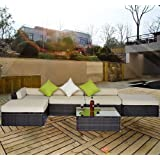 Outsunny 6pc Deluxe Rattan Furniture Wicker Conservatory Outdoor Garden Patio Corner Sofa Aluminium Set Mixed Brown FIRE RETARDANT SPONGE