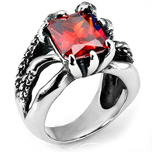 Kostüm Wilde Dinge (Aooaz Schmuck Herren Ring,Intarsien Kristall Retro Biker Drachenklaue Edelstahl Ring für Herren Silber)