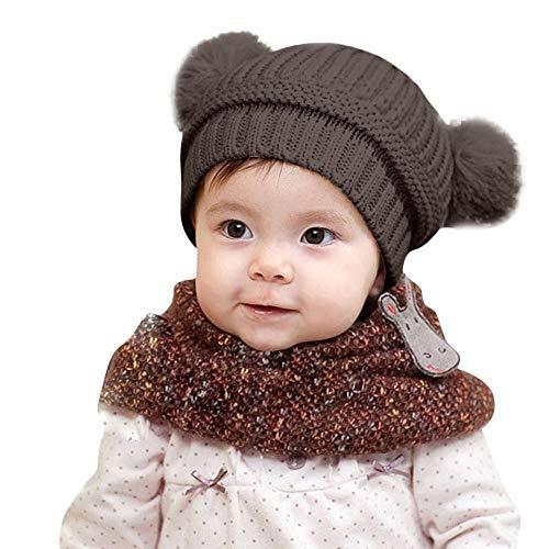 Baby Mütze,Transwen Mode Kleinkind Baby Jungen Mädchen Winter halten warme Häkelarbeit Knit Hut Säuglingshairball Kappe Kindermütze Wintermütze (Kaffee)