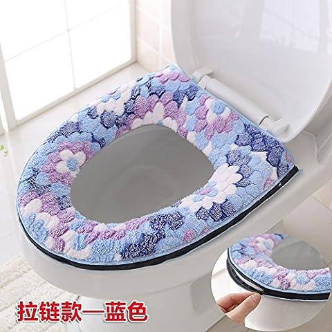 Dicke wc Pad WC Sitz- ring wc Hocker kit Reißverschluss wc Ferrule wasserdicht Universal eine Matratze, Zip, Blau