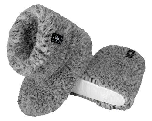 Natural Line Unisex-Hausschuhe aus Schaffell, weich und bequem, verschiedene Farben erhältlich Grey&Black